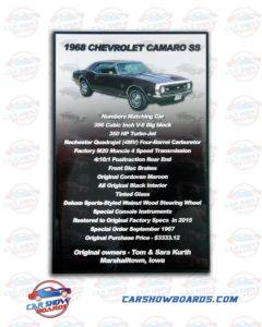 Camaro SS Car Show Board