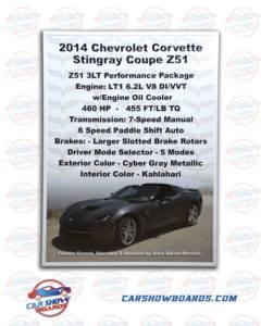 Corvette Stingray Car Show Board