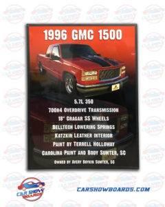 GMC 1500 Show Board