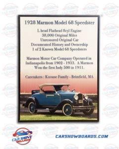 Marmon Speedster Show Board